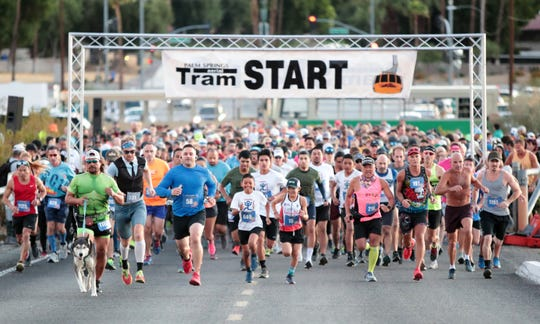 Runners begin the 34th Annual Tram Road Challenge 6K in Palm Springs, Calif., on Saturday, October 26, 2019.