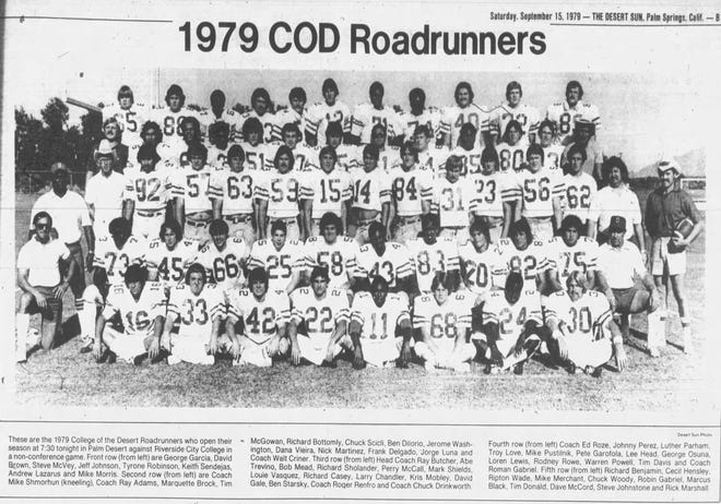 A team photo of the 1979 COD football team from The Desert Sun archives.