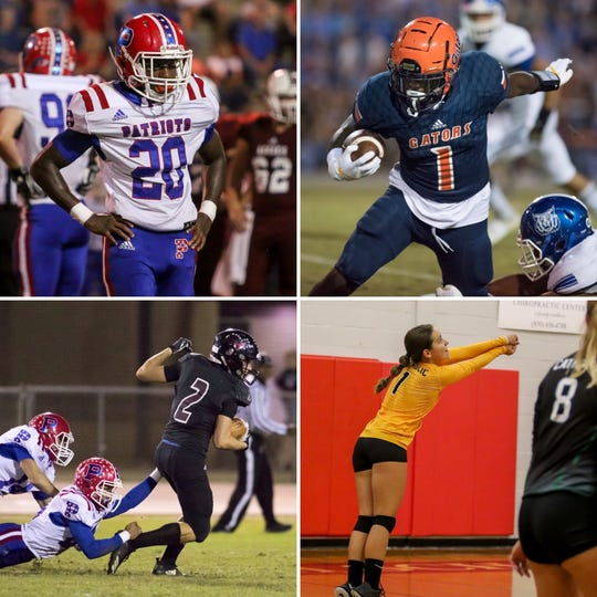 Pace's Tyler Strain (top left), Escambia's Frank Peasant (top right), Navarre's Tyler England (bottom left) and Catholic's Maddie Galloway (bottom right) are among this week's nominees for PNJ Athlete of the Week.