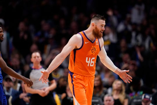 Suns center Aron Baynes had 15 points with seven rebounds and three assists in the Suns' 108-107 overtime loss to the Nuggets.