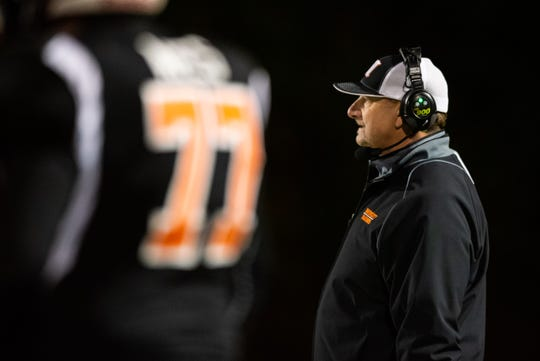 Marine City head football coach Ron Glodich watches a play from the sideline during their game against Warren Lincoln Friday, Oct. 25, 2019, at East China Stadium.