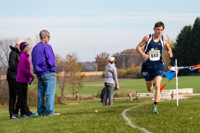 Memphis junior Tyler Carlson competes in the MHSAA Division 3 Boys Cross Country Regionals Saturday, Oct. 26, 2019, at Goodells County Park.
