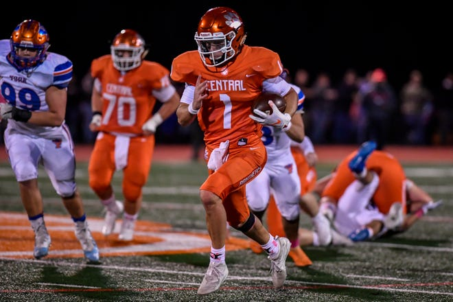 Central York quarterback Beau Pribula runs for a Panthers touchdown against York High, Friday October 25, 2019.