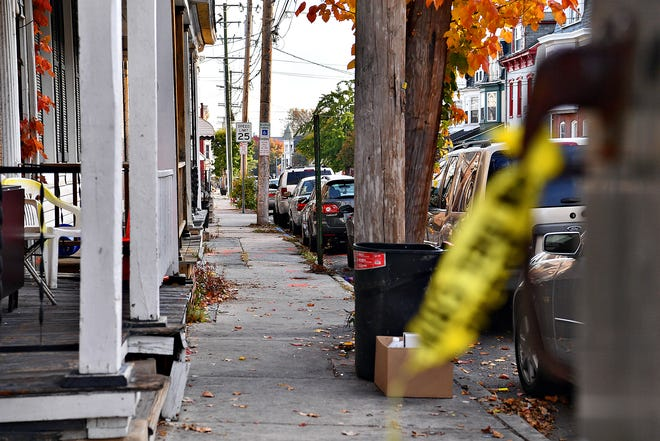 The scene of a fatal shooting in the 400 block of West King Street in York City, shown Saturday, Oct. 26, 2019. Paint marks where multiple shell casings were found following the Friday night shooting. The Dawn J. Sagert photo
