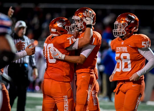 Central York players celebrate during last Friday's win over York High. The Panthers will travel to Harrisburg on Saturday for a District 3 Class 6-A first-round playoff contest.