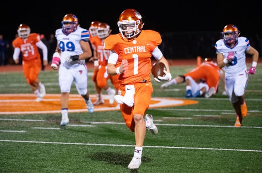 Beau Pribula (1) runs towards the end zone during the YAIAA Division I football title game between Central York and York High at Central York High School, October 25, 2019. The Panthers defeated the Bearcats 35-14.