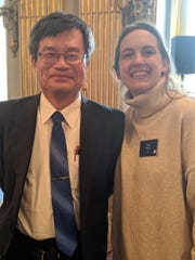 Hisrich poses with Hiroshi Amano, winner of the 2014 Nobel Prize in physics.