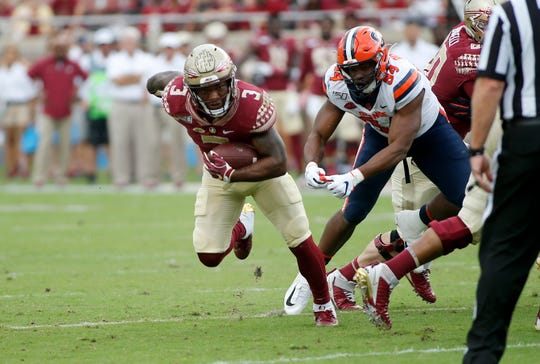 Oct 26, 2019; Tallahassee, FL, USA; Florida State Seminoles running back Cam Akers (3) runs for a touchdown against Syracuse at Doak Campbell Stadium.