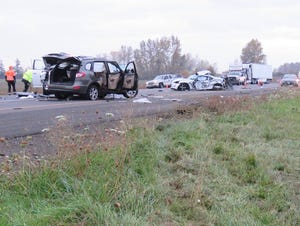 The scene of a four-vehicle crash Oct. 26, 2019, on Interstate 5 just south of Woodburn, Oregon, that resulted in one fatality and five other injuries.