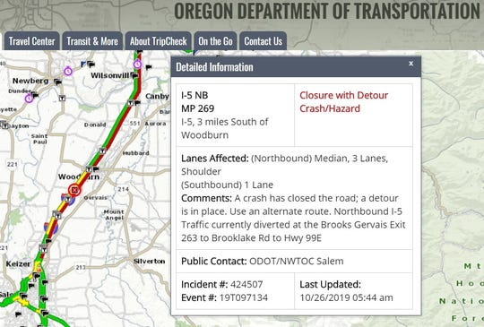 A multiple-vehicle accident on northbound Interstate 5 south of Woodburn resulted in a fatality. All northbound lanes are closed.