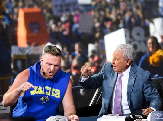 Celebrity guest picker Pat McAfee joins ESPN GameDay hosts during the broadcast on Saturday, Oct. 26, 2019 in Brookings, S.D. McAfee's pick for the Dakota Marker game was the Jacks.