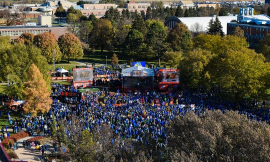 South Dakota State University's campus is flooded with Jackrabbit and Bison fans alike as College GameDay airs live on Saturday, October 26, in Brookings.