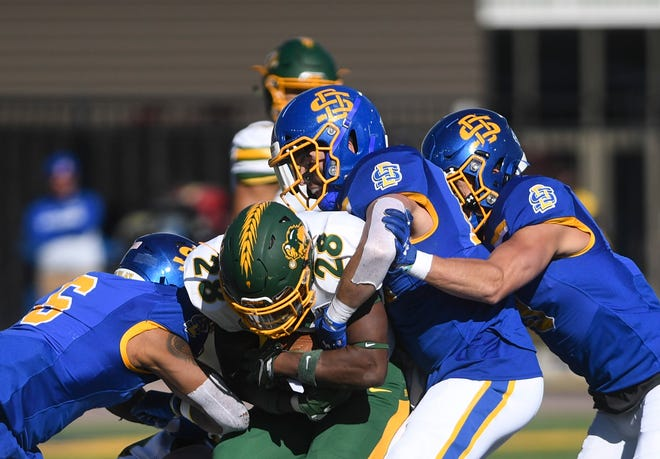 North Dakota State and South Dakota State are in a four-way tie for first place in the Missouri Valley Football Conference.