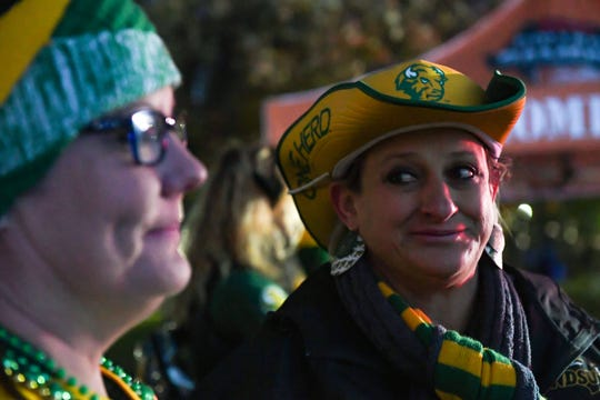 Wendy Volson and Marie Schoening, mothers of North Dakota State University football players, showed up to College GameDay before sunrise on Saturday, October 26, in Brookings.