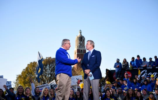 SDSU coach John Stiegelmeier joins GameDay host Tom Rinaldi on stage before the Dakota Marker game on Saturday, Oct. 26, 2019 in Brookings, S.D.