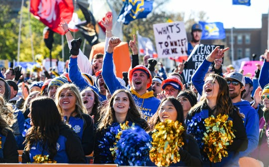 South Dakota State University fans cheer for the College GameDay hosts that picked the Jackrabbits to win the day's game on Saturday, October 26, in Brookings.