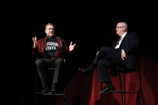 "Actor and Missouri State alumnus John Goodman (pictured here with MSU President Clif Smart) will chair MSU's Onward, Upward fundraising campaign. The news was announced at the ""It's On!"" event, which publicly kicked off the campaign on Saturday, Oct. 26."