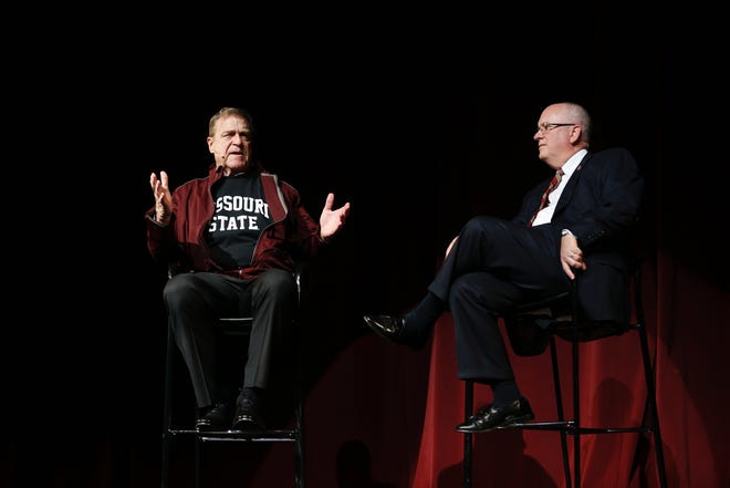 """Actor and Missouri State alumnus John Goodman (pictured here with MSU President Clif Smart) will chair MSU's Onward, Upward fundraising campaign. The news was announced at the """"It's On!"""" event, which publicly kicked off the campaign on Saturday, Oct. 26."""