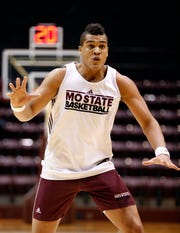 The MSU Bears' Gaige Prim at a basketball team scrimmage during homecoming on Saturday, Oct. 26, 2019, at Hammons Student Center in Springfield, Mo.