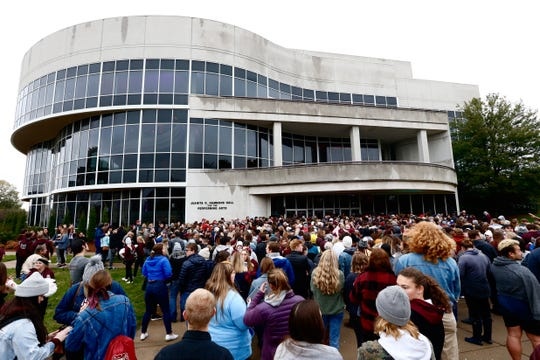 "A large crowd gathers outside Juanita K. Hammons Hall for the Performing Arts on the Missouri State campus on Saturday, Oct. 26, 2019, for a pre-party for the university's ""It's On!"" event kicking off the Onward, Upward fundraising campaign."
