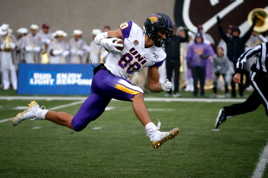 University of Northern Iowa receiver Isaiah Weston carries the ball for a touchdown against Missouri State.