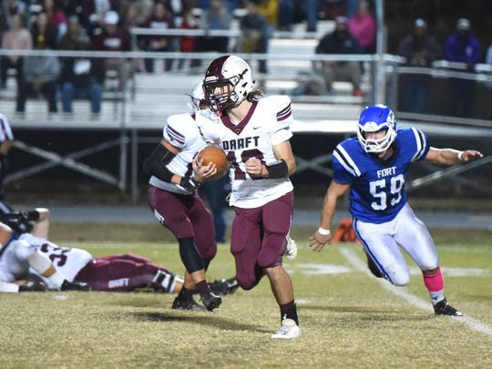 Stuarts Draft's Blake Roach finds some room to run Friday against the Fort defense.