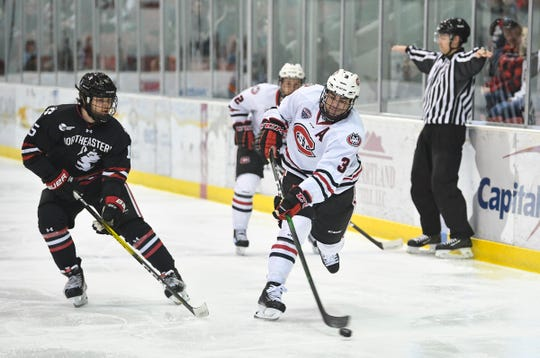 Jack Poehling shoots the puck for St. Cloud State during the first period of the Friday, Oct. 25, 2019, game against Northeastern at the Herb Brooks National Hockey Center in St. Cloud.