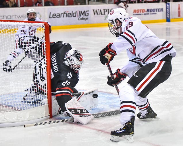 St. Cloud State's Sam Hentges takes a shot on Northeastern goaltender Craig Pantano during the first period of the Friday, Oct. 25, 2019, game at the Herb Brooks National Hockey Center in St. Cloud.