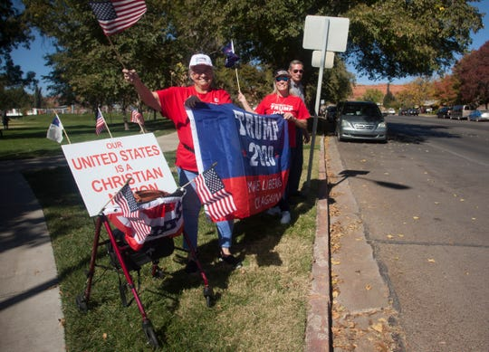 Trump supporters gather at the Vernon Worthen Park Saturday, Oct. 26, 2019.