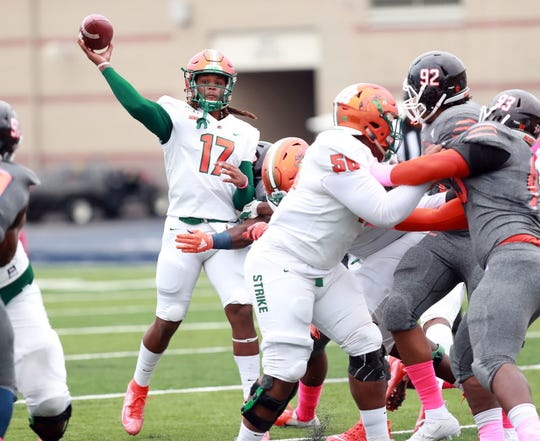 FAMU quarterback RaSean McKay went 25 of 35 for 246 yards and a touchdown in the 24-12 win over Morgan State Saturday, Oct. 26, 2019. This was the redshirt freshman's first career start.