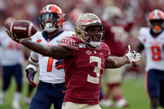 Florida State Seminoles running back Cam Akers (3) celebrates the first touchdown of the game. The Florida State Seminoles host the Syracuse Orange for the 2019 homecoming game Saturday, Oct. 26, 2019.