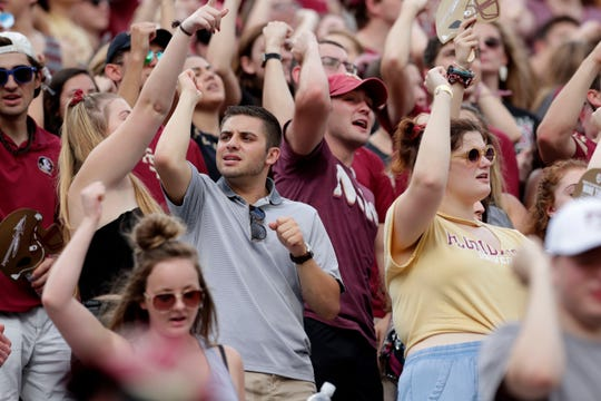 Fans cheer the Seminoles on to a victory over Syracuse during the 2019 homecoming game Saturday, Oct. 26, 2019.