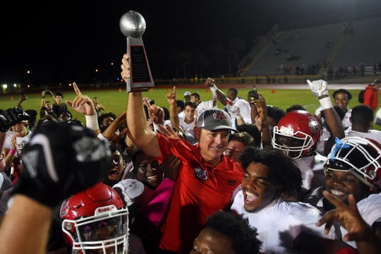 The Fort Pierce Central High School Cobras hosted the Vero Beach High School Fighting Indians for a District 9-8A game on Friday, Oct. 25, 2019, at Lawnwood Stadium in Fort Pierce. Vero Beach won 28-3 to set a new state record of 61 consecutive regular season game wins.