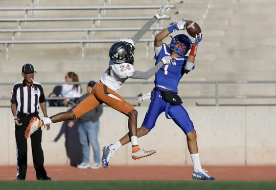 Pebble Hills cornerback Dayton Jamierson breaks up a pass in the endzone meant for Americas receiver Evan Chisolm Friday at the SAC.