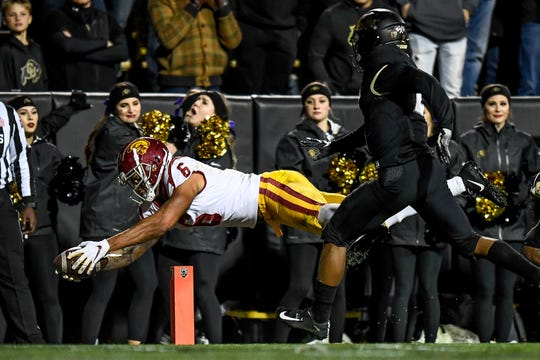 USC receiver Michael Pittman Jr. dives across the goal line for a touchdown against Colorado.