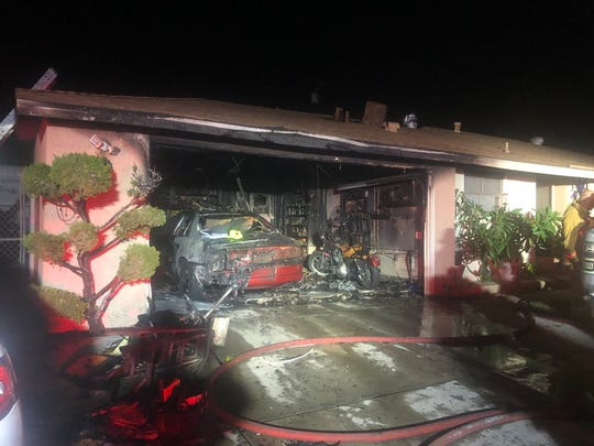 The scene of a fire in a garage of a Simi Valley residence on Friday night.