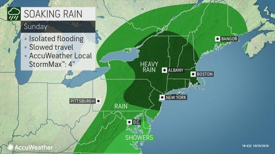 After a sunny Saturday, the forecast calls for rain and potential for some coastal flooding.