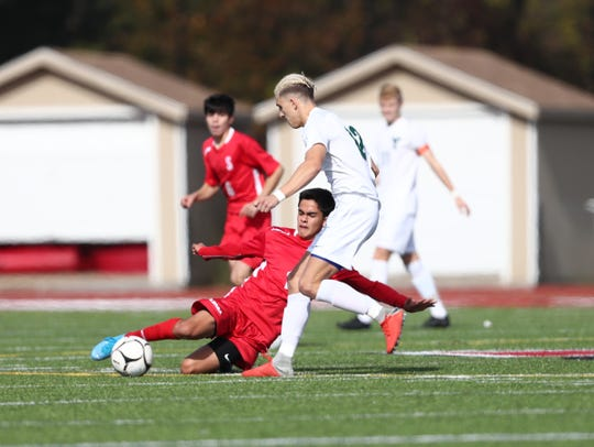 Somers hosts Yorktown in the Class A boys soccer quarterfinal at Somers High School in Lincolndale on Saturday, October 26, 2019.