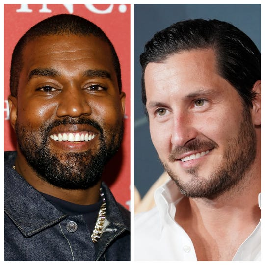 Kanye West (left) and Val Chmerkovskiy (right).
