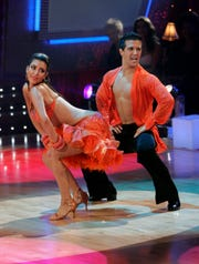 "Kim Kardashian and pro partner Mark Ballas perform on the ABC's ""Dancing With The Stars"" on Sept. 23, 2008 in Los Angeles."
