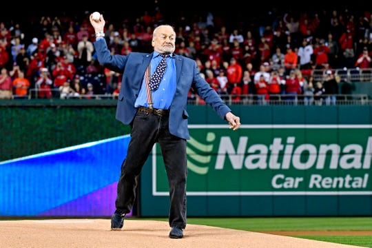 Buzz Aldrin of Satellite Beach is certainly no stranger to baseball circles. Here he throws out the first pitch in Game 3 of the World Series between the Astros and Nationals.