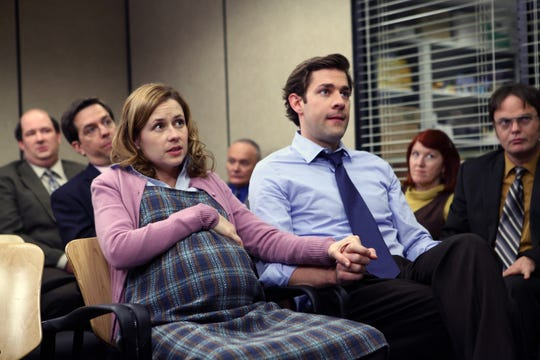 "THE OFFICE -- ""The Delivery, Part 1"" Episode 618 -- Pictured: (l-r) Bran Baumgartner as Kevin Malone, Ed Helms as Andy Bernard, Jenna Fischer as Pam Halpert, Creed Bratton as Creed, John Krasinski as Jim Halpert, Kate Flannery as Meredith Palmer, Rainn Wilson as Dwight Schrute --  Photo by Justin Lubin, NBC ORG XMIT: Season:6 (Via MerlinFTP Drop)"