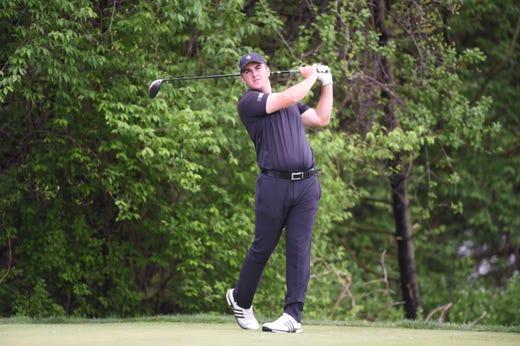 Chris Gotterup golfing for Rutgers
