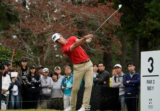 Brevard County's Billy Horschel watches his tee shot on the third hole during the third round of the Zozo Championship PGA Tour at the Accordia Golf Narashino country club in Inzai, east of Tokyo, Japan, Sunday, Oct. 27, 2019.