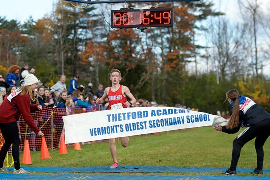 Mill River's Brogan Giffin wins the Division III title at the Vermont State Cross Country Meet at Thetford Academy on Saturday, Oct. 26, 2019. Giffin's time of 16:48.8 was the second fastest on the day.
