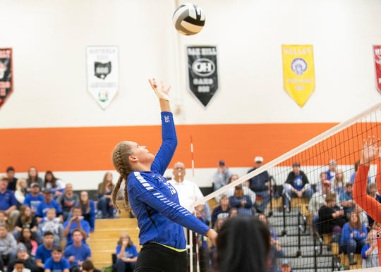 Southeastern's Lyndsey Skeens hits a ball during a 3-0 district final loss to Wheelersburg on October 26, 2019, in Waverly, Ohio.