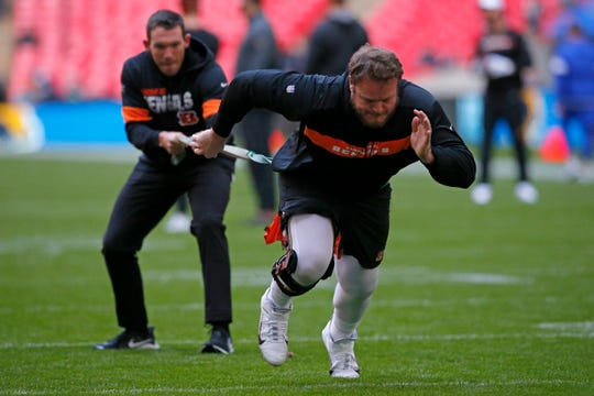 Cincinnati Bengals defensive tackle Ryan Glasgow (98) warms up before the NFL Week 8 game between the Los Angeles Rams and the Cincinnati Bengals at Wembley Stadium in Wembley, London, on Sunday, Oct. 27, 2019.