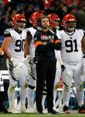 Cincinnati Bengals head coach Zac Taylor looks on from the sideline in the fourth quarter of the NFL Week 8 game between the Los Angeles Rams and the Cincinnati Bengals at Wembley Stadium in Wembley, London, on Sunday, Oct. 27, 2019. The Bengals lost 24-10, advancing to 0-8 on the season.