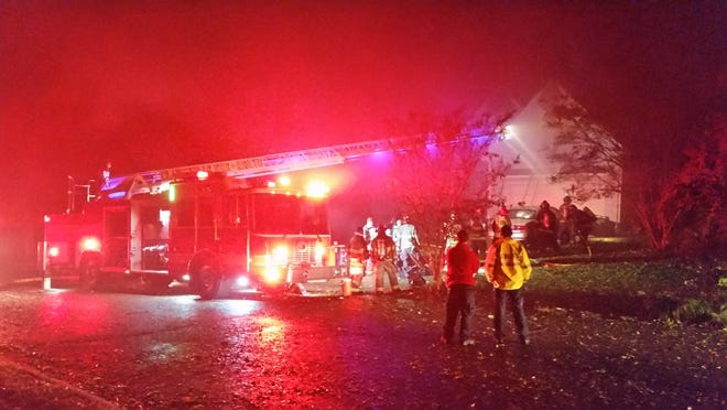 A home was damaged by fire on Teal Drive Saturday night, Oct. 27, 2019, during a power outage across Clarksville.