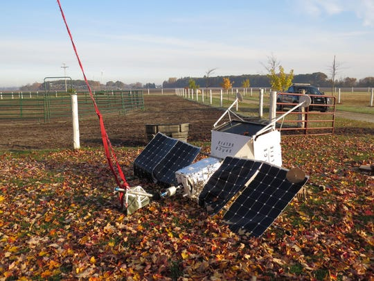 A pseudo Samsung space satellite fell from the sky Saturday morning in Gratiot County, just 45 minutes west of Saginaw,